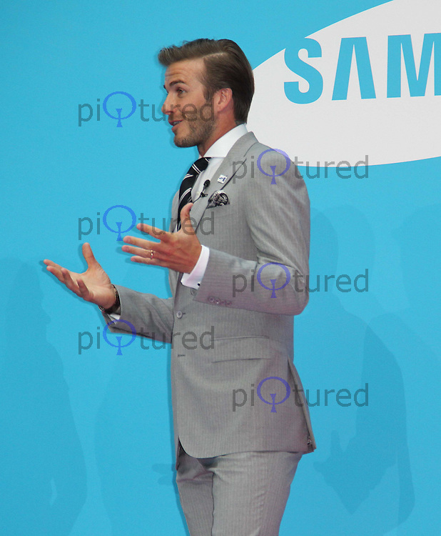 Samsung Kicks off its London 2012 Campaign 'Everyone's Olympic Games' with Ambassador David Beckham, Canary Wharf, London, UK, 13 June 2011:  Contact: Rich@Piqtured.com +44(0)7941 079620 (Picture by Richard Goldschmidt)