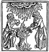 Witches casting a spell to bring rain. Woodcut from Ulrich Molitor 'De Laniis et phitonicis mulieribus', Constance, 1489