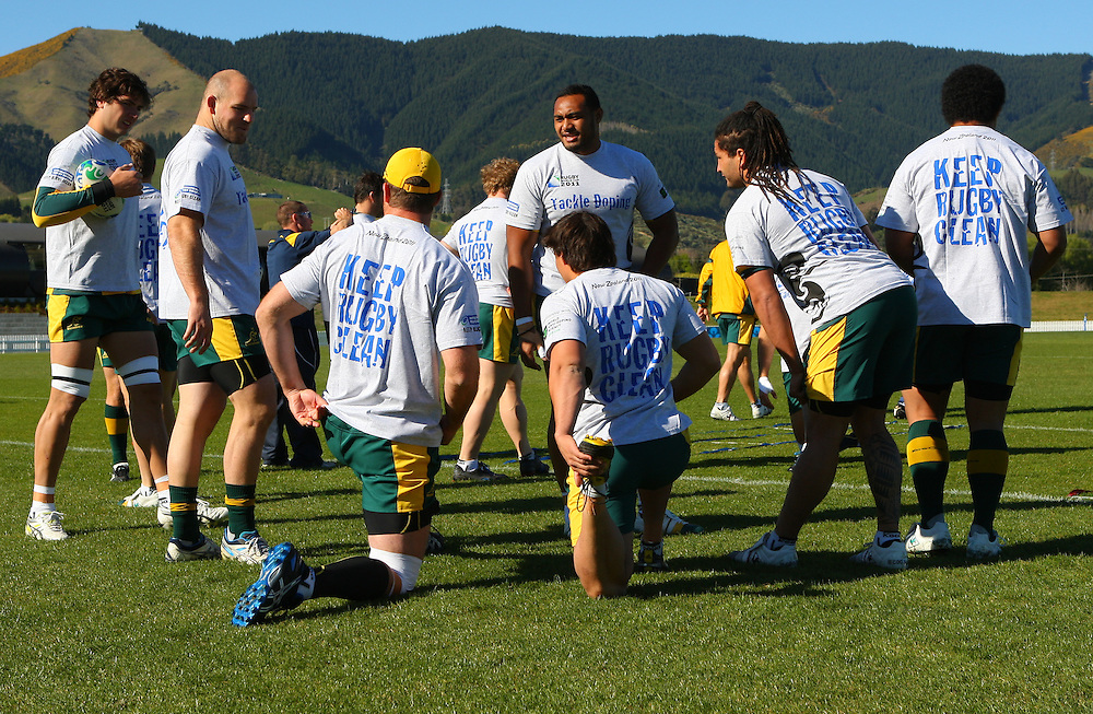 Australia, warms up in the Rugby World Cup Training session, at Saxton Field,  Nelson, New Zealand, Tuesday, September 29, 2011, New Zealand. Credit:SNPA / Blair Hall