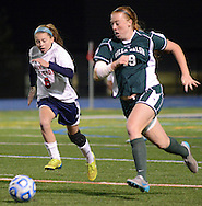 Moorestown Friend's Micaela Coll #8 and Villa Walsh's Alyssa Yarosz #19 chase a loose ball in the first half of the non-public B girls soccer state championship game Sunday November 15, 2015 at Kean University in Union, New Jersey. (Photo by William Thomas Cain)