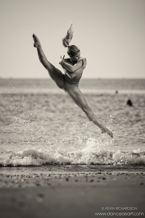 Black and White Dance As Art Coney Island Ocean Series with dancer Erika Citrin