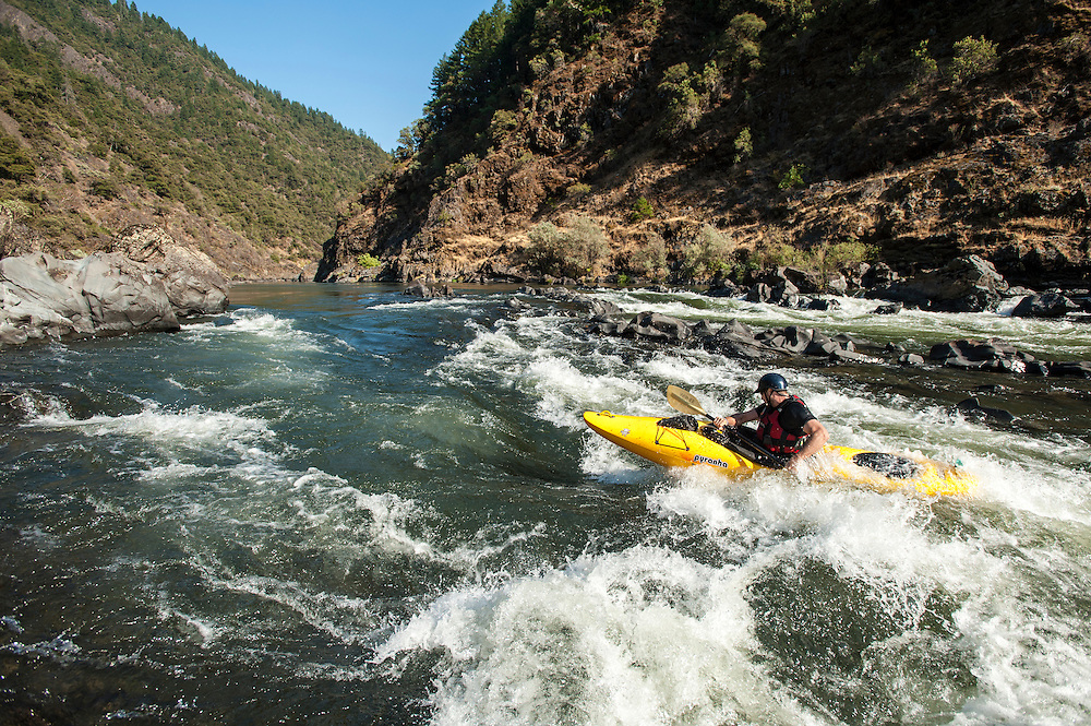 Dave Shively paddling the Rogue River, Oregon.