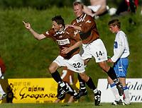 Fotball - 1. divisjon - Ørn Horten - FK Haugesund 4-1. Ørn Horten jubler. Ardian Gashi jubler etter sin 1-0-scoring. På ryggen Eivind Evensen. <br /> <br /> <br /> Foto: Andreas Fadum