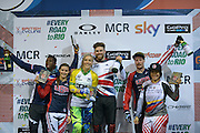 Elite Mens & Elite Women's Winners at the BMXMX World Cup Finals at  at the Manchester Arena, Manchester, United Kingdom on 19 April 2015. Photo by Charlotte Graham.