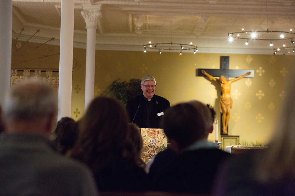Father Patrick Lee speaks at the 2017 social justice missioning ceremony on May 12. The event took place in the Student Chapel in College Hall, led by keynote speaker Tyler Hobbs, and included the official pinning for senior social justice students.<br />