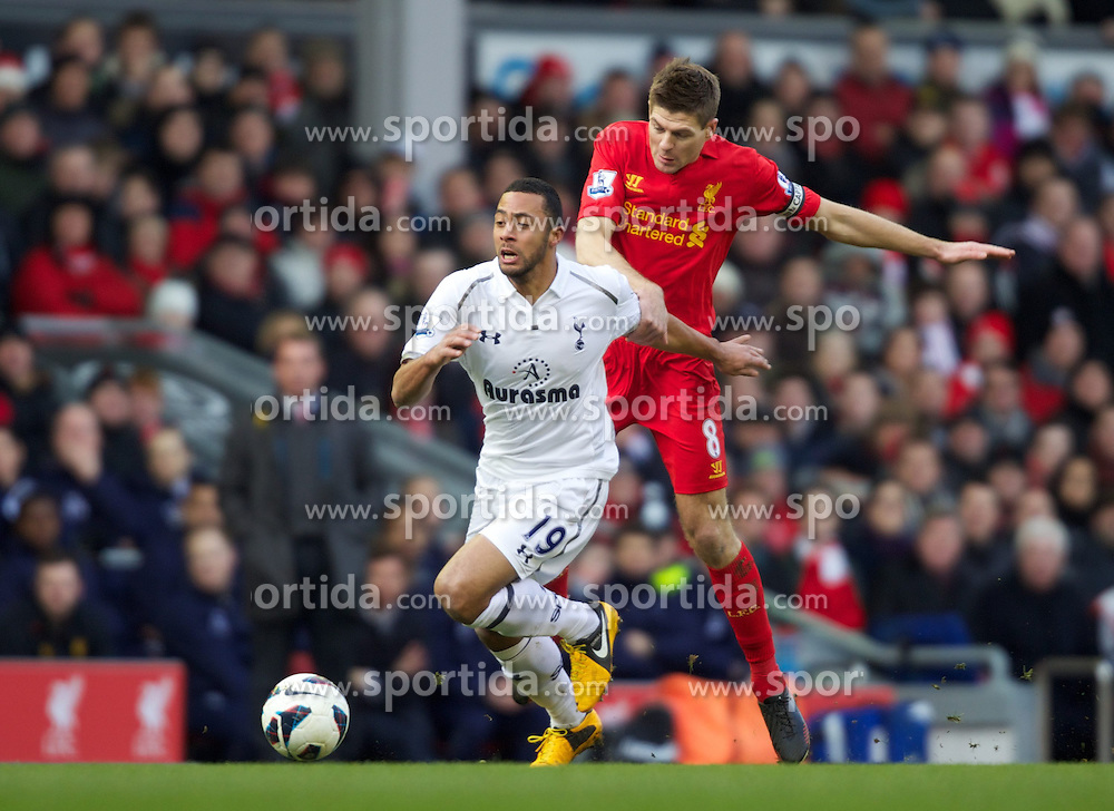 10.03.2013, Anfield, Liverpool, ENG, Premier League, FC Liverpool vs Tottenham Hotspur, 29. Runde, im Bild Tottenham Hotspur's Mossa Dembele in action against Liverpool's captain Steven Gerrard during the English Premier League 29th round match between Liverpool FC and Tottenham Hotspur at Anfield, Liverpool, Great Britain on 2013/03/10. EXPA Pictures © 2013, PhotoCredit: EXPA/ Propagandaphoto/ Barrington Coombs..***** ATTENTION - OUT OF ENG, GBR, UK *****