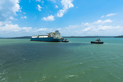 Panama Canal, Panama--April 18, 2018. A Liquid Natural Gas tanker makes its way down the Panama Canal. Editorial use only.