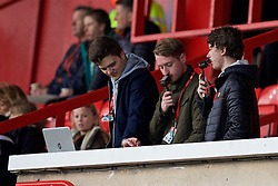 WREXHAM, WALES - Monday, May 2, 2016: Young radio reporters during the 129th Welsh Cup Final at the Racecourse Ground. (Pic by David Rawcliffe/Propaganda)