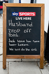 "Amusing ""Husband Drop Off Point"" Sign on the street outside the 'Book in Hand' Pub at Mablethorpe<br />  04 October 2015<br />  Image © Paul David Drabble <br />  www.pauldaviddrabble.co.uk"