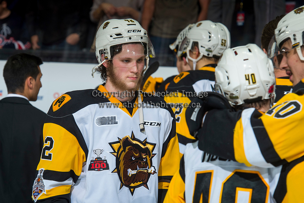 REGINA, SK - MAY 25: Benjamin Gleason #42 of Hamilton Bulldogs stands on the ice after the loss to the Regina Pats at the Brandt Centre on May 25, 2018 in Regina, Canada. (Photo by Marissa Baecker/CHL Images)