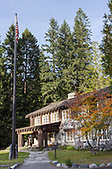 The entrance to the historic Longmire Administration Building at Longmire in Mount Rainier National Park, Washington State, USA