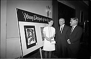 "28/06/1967<br /> 06/28/1967<br /> 28 June 1967<br /> Presentation of prizes at Navan Carpets ""Young Designer of the Year"" reception in the Royal Hibernian Hotel, Dublin. Image shows Ms Linda Willis (20) a College of Art student from Dun Laoghaire, who was named Ireland's ""Young Designer of the Year"". Linda, who was born in Venice, received her prize with the other award winners at the reception. Left -right are:  Ms Willis;  Mr. James White, Director National Gallery of Ireland and Mr. Allan Mallinson, Managing Director, Navan Carpets Ltd. standing in front of Linda's design."