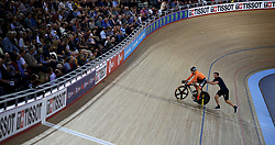 Harrie Lavreysen of Netherlands before the Men's Sprint Semi Finals Race 2 during day three of the Tissot UCI Track Cycling World Cup at Lee Valley VeloPark, London.