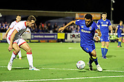 AFC Wimbledon striker Andy Barcham (17) dribbling during the EFL Sky Bet League 1 match between AFC Wimbledon and Milton Keynes Dons at the Cherry Red Records Stadium, Kingston, England on 22 September 2017. Photo by Matthew Redman.