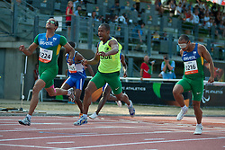 PRADO Lucas Guide:  MARTINS Lorenzo Alves, GOMES Felipe Guide:  BORGES Jorge, BRA, 100m, T11, 2013 IPC Athletics World Championships, Lyon, France