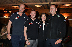 Left to right, ED PARKER, CHRIS DOWNEY, KATE PHILP and MARK WISE at a party in honour of the Walking With The Wounded team members held at Bodo's Schloss, 2A Kensington High Street, London on 13th November 2013.