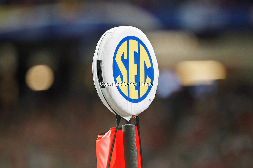 Dec 3, 2011; Atlanta, GA, USA; A detailed view of an SEC logo on a yard marker during the first half of the 2011 SEC championship game between the LSU Tigers and the Georgia Bulldogs at the Georgia Dome.  Mandatory Credit: Derick E. Hingle-US PRESSWIRE