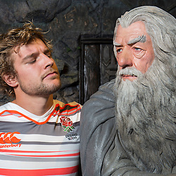England captain Tom Mitchell poses with Lord of the Rings character Gandalf during the Wellington Sevens captains' photo opportunity at Weta Workshop in Wellington, New Zealand on Thursday, 26 January 2017. Photo: Hagen Hopkins / lintottphoto.co.nz