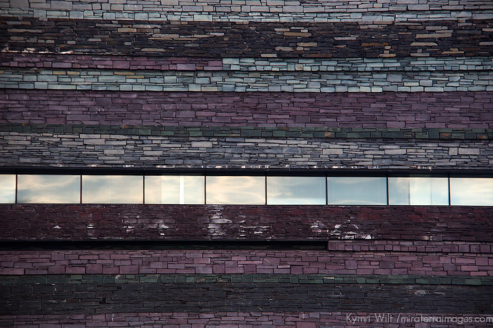 Europe, United Kingdom, Wales, Cardiff. Slate walls of Wales Millenium Center.