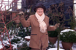 Portraits of Dorothy Ratcliff in her garden at her home in Shudy Camps, Cambridgeshire, December 29, 2000..Photo by Andrew Parsons/i-Images..