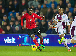CARDIFF, WALES - Tuesday, February 11, 2014: Cardiff City's Wilfried Zaha in action against Aston Villa during the Premiership match at the Cardiff City Stadium. (Pic by David Rawcliffe/Propaganda)