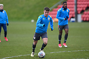 Jamie Shackleton of Leeds United Under 23's warming up before the U23 Professional Development League match between Barnsley and Leeds United at Oakwell, Barnsley, England on 9 March 2020.