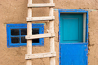 Blue Window, Door and Ladder, Taos Pueblo, New Mexico