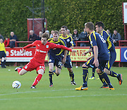 Dundee's Craig Wighton is outnumbered as he tries to get a shot away - Brechin City v Dundee, pre-season friendly at Dens Park<br /> <br />  - &copy; David Young - www.davidyoungphoto.co.uk - email: davidyoungphoto@gmail.com