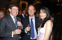 Left to right, IAN SHACKLETON, LORD NORTHBROOK and RENU MEHTA at auctioneers Sotheby's Summer party held at their showrooms in 34-35 New Bond Street, London W1 on 6th June 2005.<br />