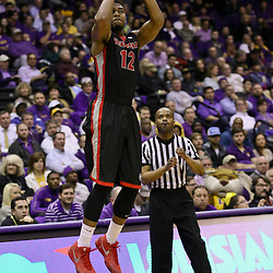 Jan 26, 2016; Baton Rouge, LA, USA; Georgia Bulldogs guard Kenny Gaines (12) shoots against the LSU Tigers during the second half of a game at the Pete Maravich Assembly Center. LSU defeated Georgia 89-85. Mandatory Credit: Derick E. Hingle-USA TODAY Sports
