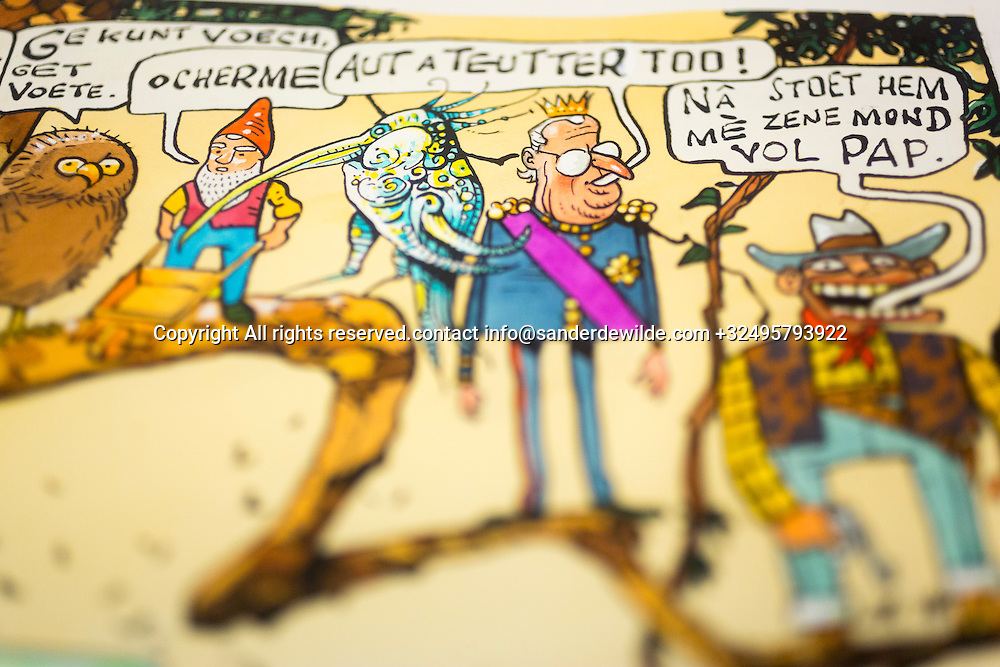 Brussels, Belgium 29 August 2014. Cartoon on Brussels in the local language (Brussels) with king Albert, a cowboy, an owl and a midget made by Johan De Moor, famous Belgian cartoonist  in his studio. © Sander de Wilde pour M le magazine du Monde