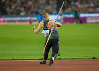 Athletics - 2017 IAAF London World Athletics Championships - Day Nine, Evening Session<br /> <br /> Mens Javelin Final<br /> <br /> Johannes Vetter (Germany) wins the gold medal at the London Stadium<br /> <br /> COLORSPORT/DANIEL BEARHAM