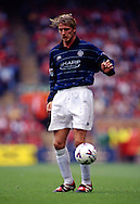 11.9.1999, Anfield Road, Liverpool.<br /> FA Premier League, Liverpool v Manchester United.<br /> David Beckham - Manchester United