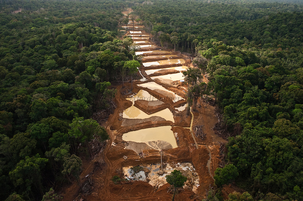 Alluvial Gold Mining along entire river bed<br /> Rainforest<br /> GUYANA<br /> South America