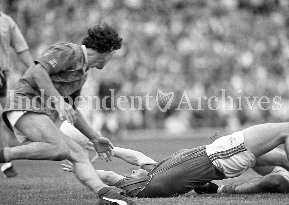 790-630<br /> Leinster Football Final at Croke Park, Dublin v Meath, 29th July 1990:<br /> Action on the pitch, with players on the ground.<br /> Meath 1-14 Dublin 0-14<br /> Pic: Dara Mac Donaill, 29/7/90<br /> (Part of the Independent Newspapers Ireland/NLI Collection)