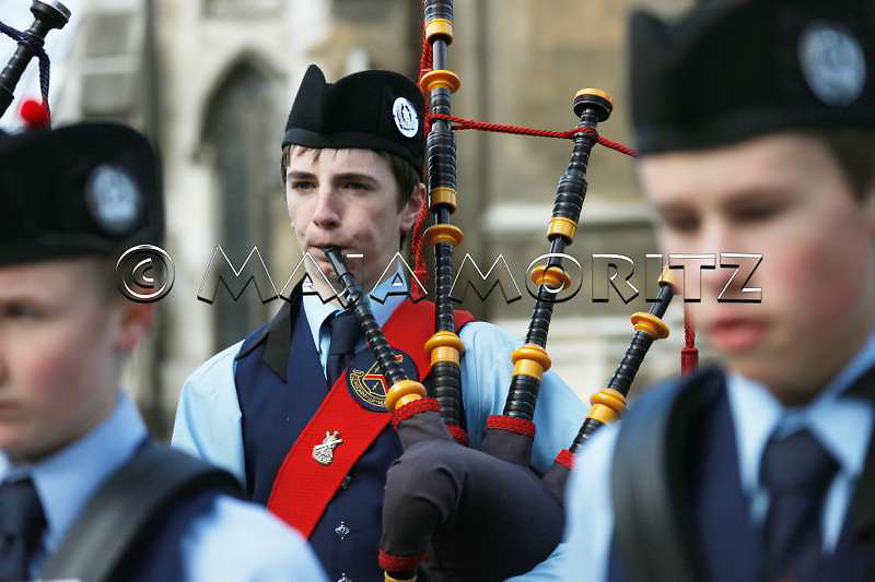 The scottish heritage and tradition of Dunedin also reflects in the music and the many pipebands like the John McGlashan College Pipe Band, here infront of the First Church of Otago, during traditional celebrations in the city