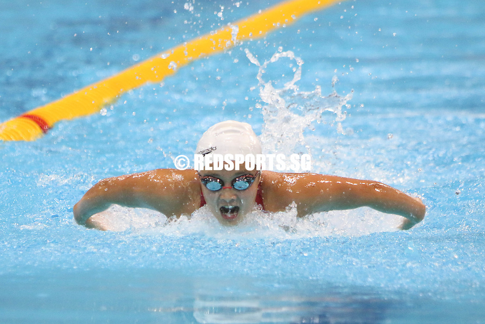 Syndey Chun, 14, swimming the breaststroke leg during her 400m IM event. She finished second in the 13-14 age group with a timing of 5:09.51.  (Photo © Chua Kai Yun/Red Sports)