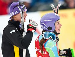 11.03.2010, Kandahar Strecke Damen, Garmisch Partenkirchen, GER, FIS Worldcup Alpin Ski, Garmisch, Lady Giant Slalom, im Bild erstplazierte Maze Tina, ( SLO, #5 ), Ski Stoeckli und Riesch Maria, ( GER, #11 ), Ski Head, EXPA Pictures © 2010, PhotoCredit: EXPA/ J. Groder / SPORTIDA PHOTO AGENCY
