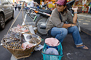 20 FEBRUARY 2008 -- KANCHANABURI, THAILAND: A fish seller with her wares in the market in Kanchanaburi, Thailand.  Photo by Jack Kurtz