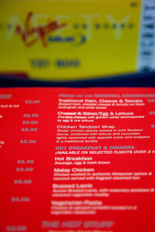 The for-purchase menu aboard a Virgin Blue flight in Australia
