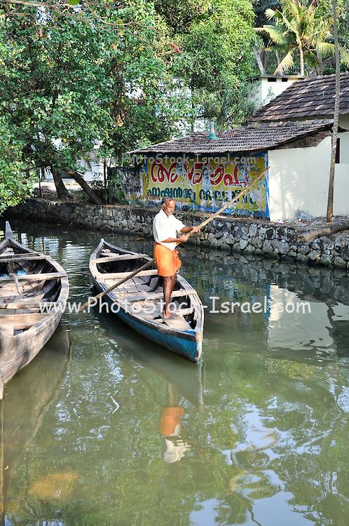 India, Kerala backwaters, primitive transport boats