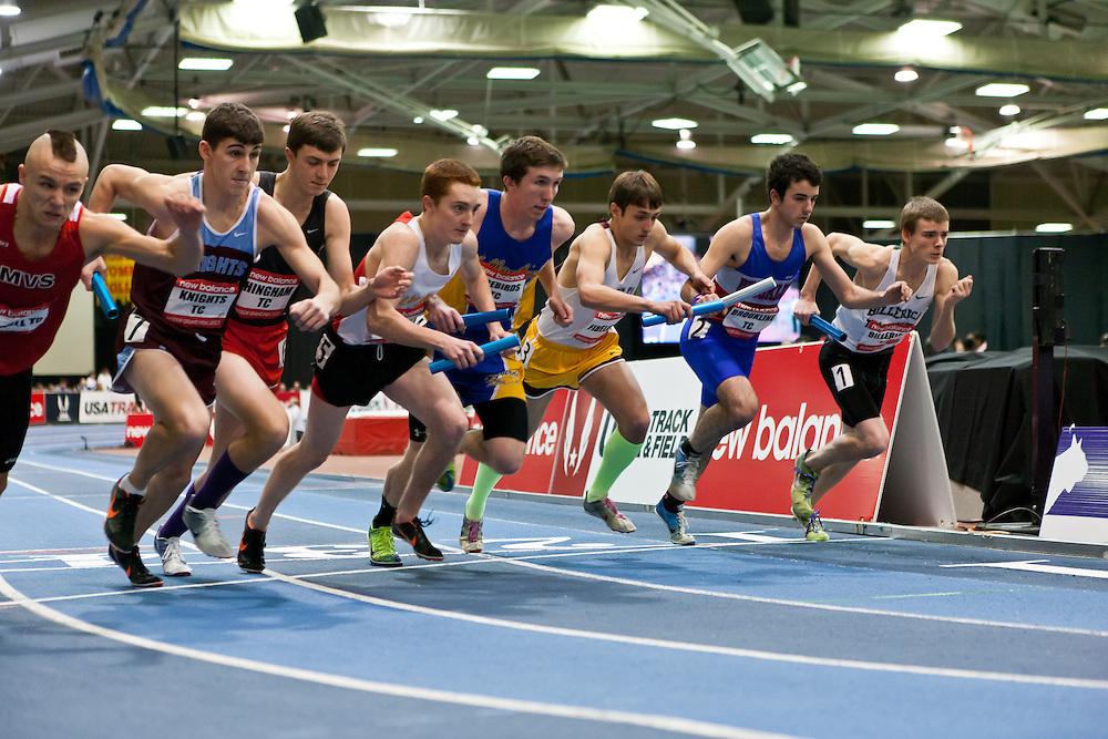New Balance Indoor Grand Prix track meet: Boys 4x800 relay, start