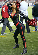 A San Francisco 49ers cheerleader does a sideline dance routine during the 2015 NFL week 1 regular season football game against the Minnesota Vikings on Monday, Sept. 14, 2015 in Santa Clara, Calif. The 49ers won the game 20-3. (©Paul Anthony Spinelli)
