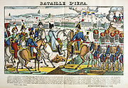 Napoleon at the Battle of Jena 14 October 1806. Decisive French victory under Napoleon against Prussia and Saxony under Duke of Brunswick, Prince of Hohenlohe and General Blucher.  Popular French hand-coloured woodcut.