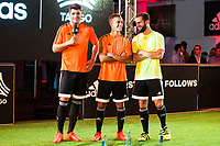 """Real Madrid players Alvaro Morata, Lucas Vazquez and Nacho Fernandez during the presentation of the new pack of Adidas football shoes """"Speed of Light"""" in Madrid. September 16, 2016. (ALTERPHOTOS/Borja B.Hojas)"""