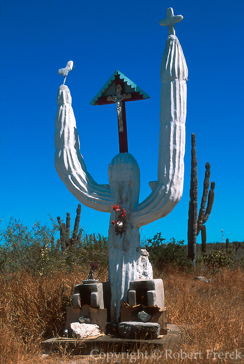 MEXICO, BAJA CALIFORNIA SOUTH Roadside shrine designed as Cardon cactus near La Paz in southern Baja California