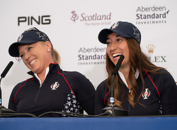 Auchterarder, Scotland, UK. 10 September 2019. Press conference by team at Gleneagles. Pictured Morgan Pressel (l) and Marina Alex of USA. Iain Masterton/Alamy Live News