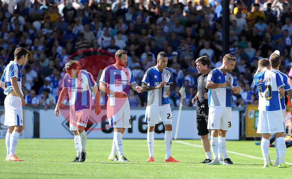Bristol Rovers players take on some water - Mandatory byline: Neil Brookman/JMP - 07966386802 - 08/08/2015 - FOOTBALL - Memorial Stadium -Bristol,England - Bristol Rovers v Northampton Town - Sky Bet League Two