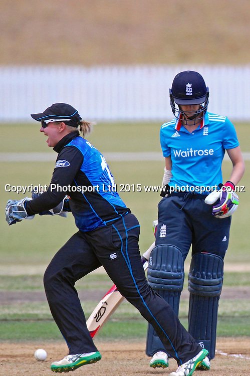 Rachel Priest reacts as Lydia Greenway is bowled by Anna Peterson for 0. 2nd Women's One Day International , New Zealand White Ferns v England at Mount Maunganui, New Zealand. 13 February 2015. Photo credit: Margot Butcher / www.photosport.co.nz