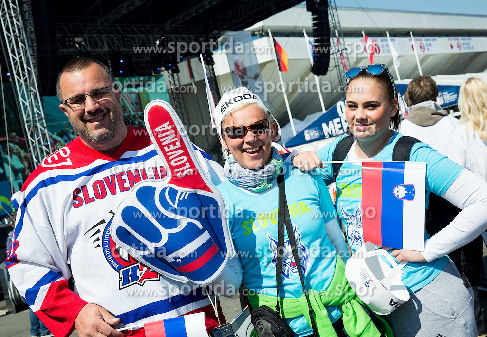 Fans of Slovenia prior to the Ice Hockey match between Russia and Slovenia at Day 3 in Group B of 2015 IIHF World Championship, on May 3, 2015 in CEZ Arena, Ostrava, Czech Republic. Photo by Vid Ponikvar / Sportida